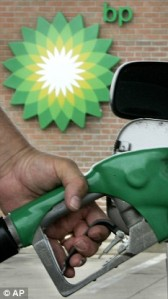 Anthony filling up at his local BP petrol filling station