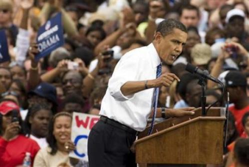 Democratic presidential nominee Senator Barack Obama (D-IL) speaks during a rally in Charlotte, North Carolina September 21, 2008. (REUTERS/Chris Keane)