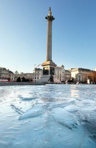 The fountains in Trafalgar Square froze over because of the bitter cold in London