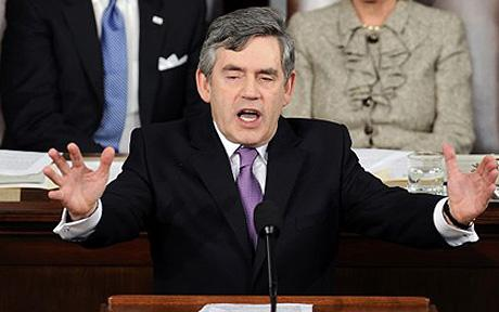 British Prime Minister Gordon Brown addresses a joint session of Congress on Capitol Hill in Washington Photo: AP