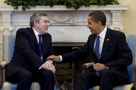 President Barack Obama and Prime Minister Gordon Brown looking kinda, sort've chummy in the White House