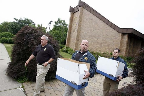 Monmouth County and Federal Investigators remove boxes of evidence from the Deal Yeshiva as part of an international money laundering and corruption probe that includes rabbis in the Syrian Jewish communities of Deal and Brooklyn.