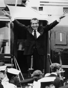 A Study of Defiance in the Face of Adversity: Nixon leaving the White House shortly after his resignation